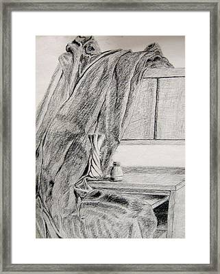 Desk And Curtain Framed Print by Diana Prout