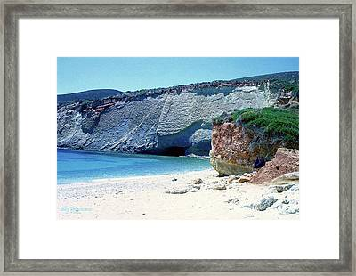 Framed Print featuring the pyrography Desolated Island Beach by Elly Potamianos