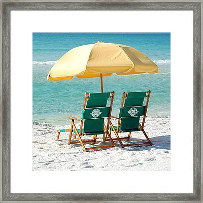 Destin Florida Beach Chairs And Yellow Umbrella Square Format Framed Print by Shawn O'Brien