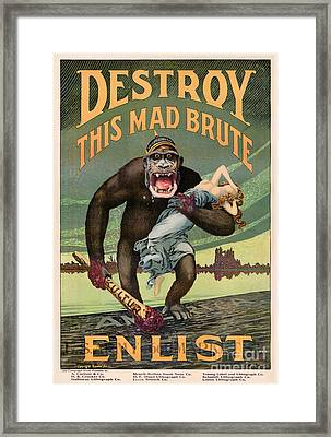 Destroy This Mad Brute - Restored Vintage Poster Framed Print