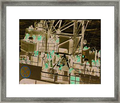 Destroyer Alongside Carrier Framed Print