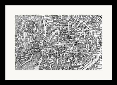 Old Town Drawings Framed Prints