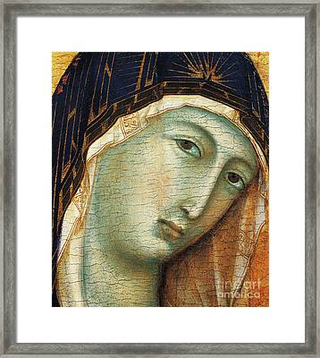 Detail From Madonna With Child And Six Angels Framed Print by Duccio di Buoninsegna