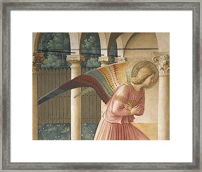 Detail From The Annunciation Showing Archangel Gabriel Framed Print by Fra Angelico