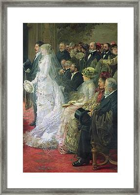 Detail From The Civil Marriage Framed Print by Henri Gervex