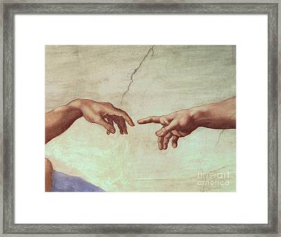 Detail From The Creation Of Adam Framed Print by Michelangelo