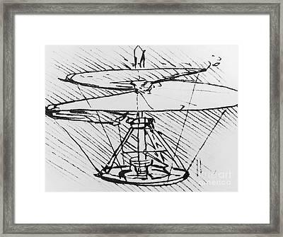 Detail Of A Design For A Flying Machine Framed Print by Leonardo Da Vinci