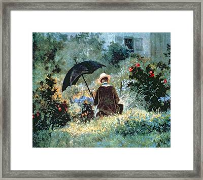 Detail Of A Gentleman Reading In A Garden Framed Print by Carl Spitzweg