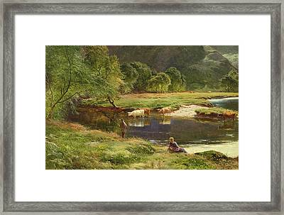 Detail Of A Highland Loch Scene Framed Print by Sidney Richard Percy