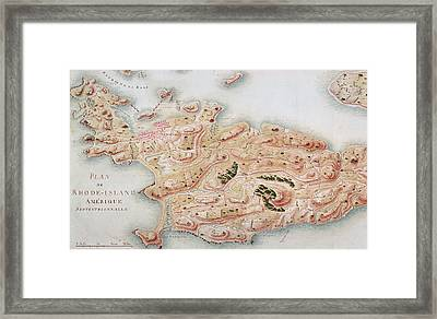 Detail Of A Map Of Rhode Island During French Occupation Framed Print by French School