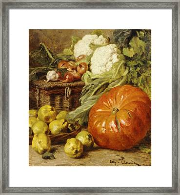 Detail Of A Still Life With A Basket, Pears, Onions, Cauliflowers, Cabbages, Garlic And A Pumpkin Framed Print by Eugene Claude
