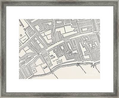 Detail Of A Vintage Map Of London Framed Print by English School