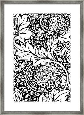 Detail Of A Vintage Textile Pattern Design By William Morris Framed Print
