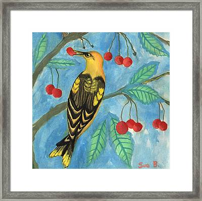 Detail Of Golden Orioles In A Cherry Tree Framed Print by Sushila Burgess