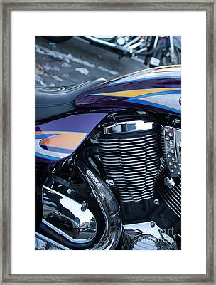 Detail Of Shiny Chrome Cylinder And Engine On Cruiser Motorcycle Framed Print