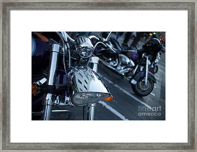 Detail Of Shiny Chrome Headlight On Cruiser Style Motorcycle Framed Print