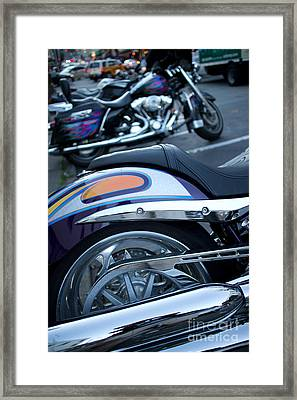 Detail Of Shiny Chrome Tailpipe And Rear Wheel Of Cruiser Style  Framed Print