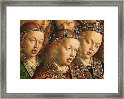 Detail Of Singing Angels Framed Print by Van Eyck