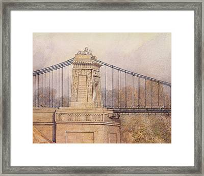 Detail Of The Approved Design For The Clifton Suspension Bridge Framed Print by Samuel Jackson