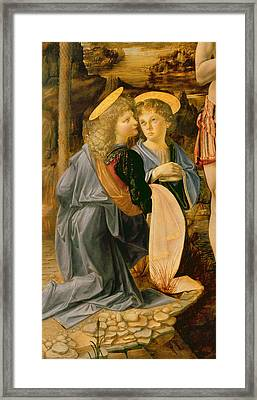 Detail Of The Baptism Of Christ By John The Baptist Framed Print by Andrea Verrocchio and