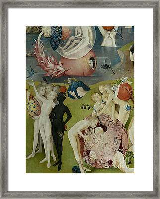 Detail Of The Central Panel Of The Garden Of Earthly Delights Framed Print by Hieronymus Bosch