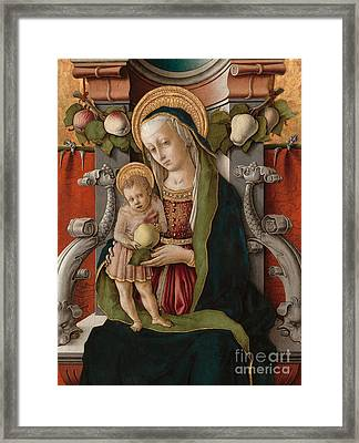 Detail Of The Madonna And Child Enthroned Framed Print by Carlo Crivelli
