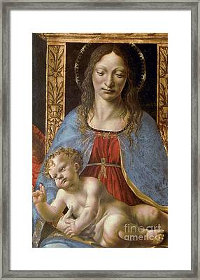Detail Of The Sforza Altarpiece, Madonna And Child Enthroned Framed Print by Master of the Pala Sforzesca