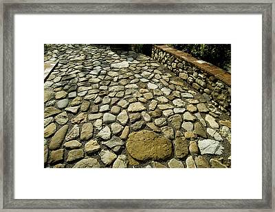 Detailed Image Of The Stone Patio Framed Print by Todd Gipstein