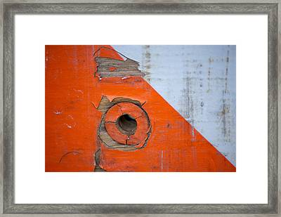 Details Of A Road Block Framed Print by Sandra Church