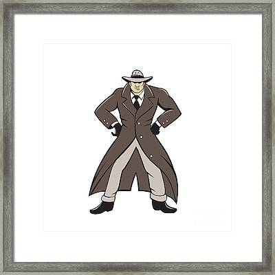 Detective Trenchcoat Hands Akimbo Cartoon Framed Print