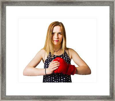 Determined Fitness Girl On White Background Framed Print by Jorgo Photography - Wall Art Gallery