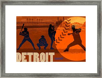 Detroit Baseball Team City Sports Art Framed Print by Design Turnpike