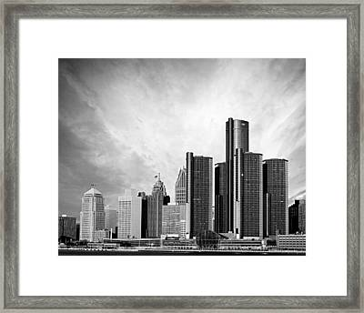 Detroit Black And White Skyline Framed Print
