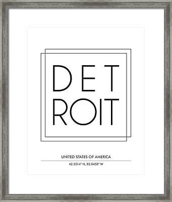 Detroit City Print With Coordinates Framed Print