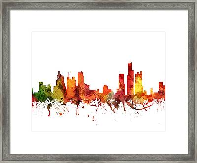 Detroit Cityscape 04 Framed Print by Aged Pixel