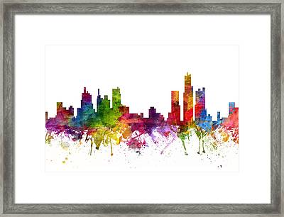 Detroit Cityscape 06 Framed Print by Aged Pixel