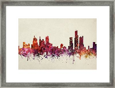 Detroit Cityscape 09 Framed Print by Aged Pixel
