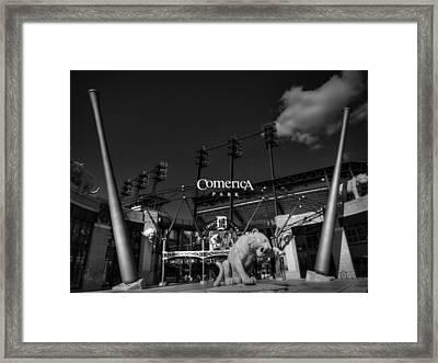 Detroit - Comerica Park 001 Bw Framed Print