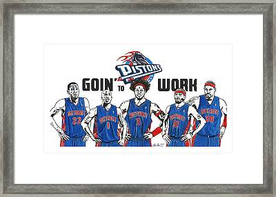 Detroit Goin' To Work Pistons Framed Print