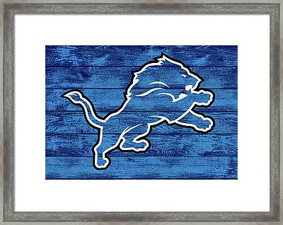 Detroit Lions Barn Door Framed Print by Dan Sproul
