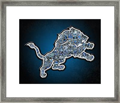 Detroit Lions Framed Print by Fairchild Art Studio