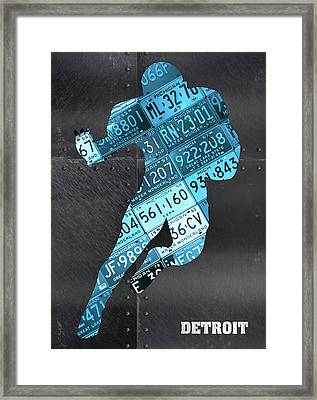 Detroit Lions Football Running Back Recycled Michigan License Plate Art Framed Print