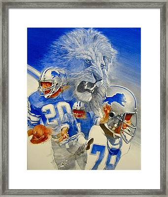 Framed Print featuring the painting Detroit Lions Game Day Cover by Cliff Spohn