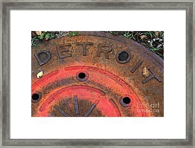 Detroit Manhole Cover Spray Painter Red Framed Print