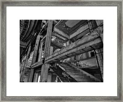 Detroit - Michigan Theatre 002 Bw Framed Print by Lance Vaughn