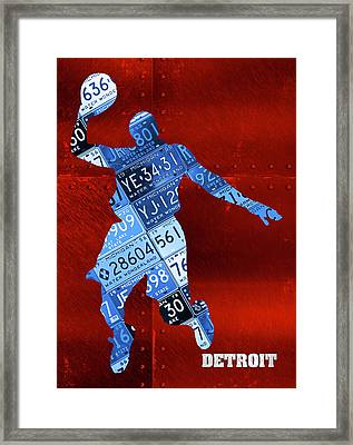 Detroit Pistons Basketball Player Recycled Michigan License Plate Art Framed Print