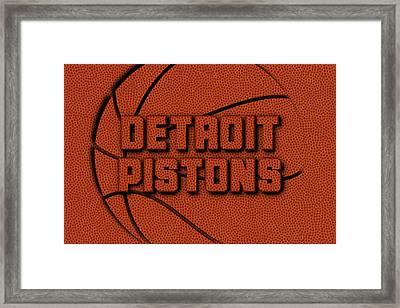 Detroit Pistons Leather Art Framed Print by Joe Hamilton