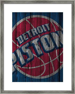 Detroit Pistons Wood Fence Framed Print