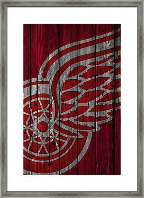 Detroit Red Wings Wood Fence Framed Print