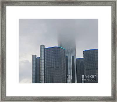 Detroit Rencen In Cloud Framed Print by Ann Horn